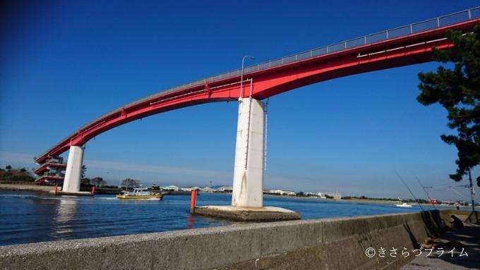 木更津にある中の島大橋の全体写真