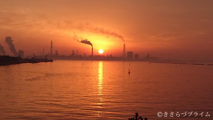 中の島大橋から見た夕日